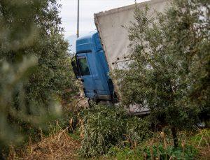 Hatay'da kontrolden çıkarak zeytin bahçesine giren tırın sürücüsü yaralandı