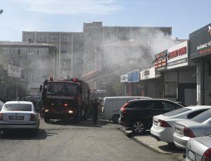 Ataşehir'de oto tamirhanesinde çıkan yangında bir kişi dumandan etkilendi