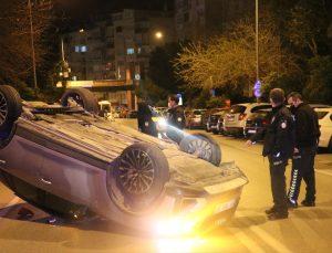 İzmir'de takla atan cipin sürücüsü yaralandı