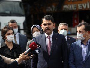 Çevre ve Şehircilik Bakanı Kurum, Kızılcahamam'da iş yerlerinin yandığı alanda incelemede bulundu: