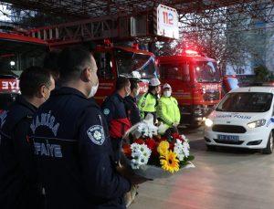 Manisa İtfaiyesinden polise sürpriz kutlama