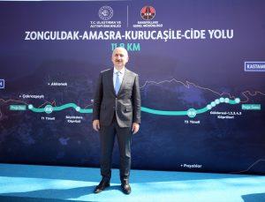 Ulaştırma ve Altyapı Bakanı Karaismailoğlu, Bartın-Amasra-Kurucaşile-Cide yol projesini inceledi: