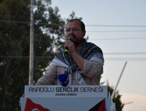 Adana'da, İsrail'in Filistin'e yönelik saldırıları İncirlik Üssü önünde protesto edildi