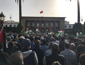 Fas'ta İsrail'in Gazze Şeridi'ne yönelik saldırıları protesto edildi