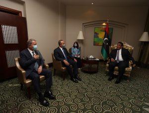 Libya Başkanlık Konseyi Başkanı el-Menfi, Çavuşoğlu ve Akar'ı kabul etti