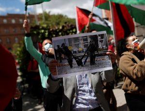 Madrid'de, İsrail'in Mescid-i Aksa ve Doğu Kudüs'teki saldırıları protesto edildi