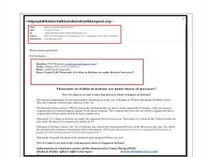 Terör örgütü PYD'nin, Kobani olayları talimatını HDP'ye e-postayla bildirdiği ortaya çıktı