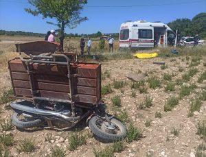 Uşak'ta devrilen motosikletin sürücüsü hayatını kaybetti