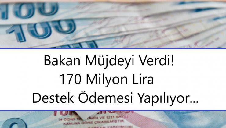 Bakan Müjdeyi Verdi 170 Milyon Lira Destek Ödemesi Yapılıyor